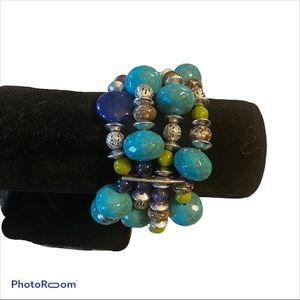 Turquoise and silver beaded statement bracelet